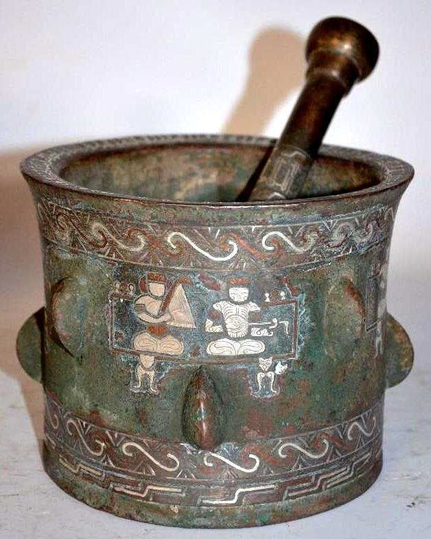 Antique Islamic Bronze & Silver Inlay Mortar & thistle