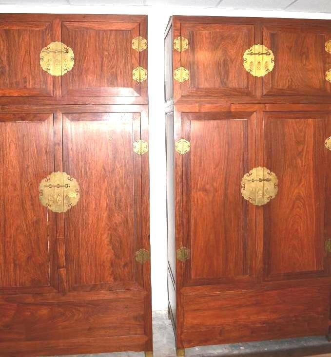 Pair of Chinese Hardwood/ Huanghuali Cabinets