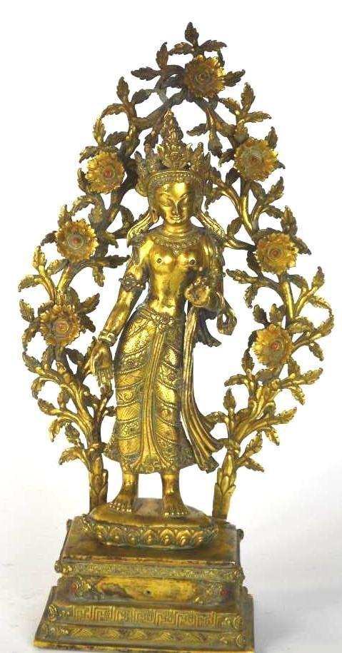 Chinese Gilt Bronze Standing Bodhisattva