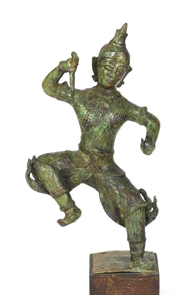 Dancing Thai Bronze Diety On Wood Stand