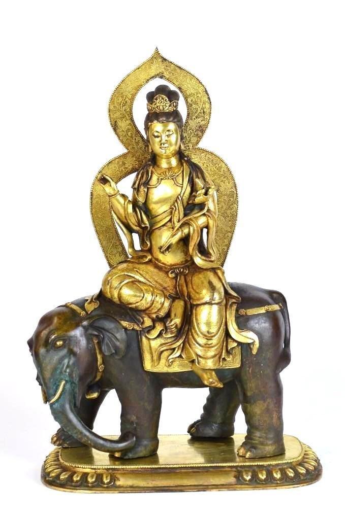 Chinese Gilt Bronze Seated Buddha on Elephant