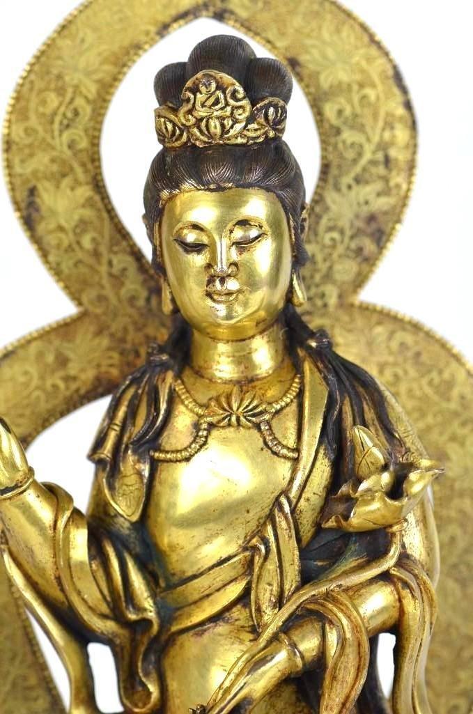Chinese Gilt Bronze Seated Buddha on Elephant - 2