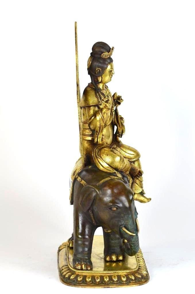 Chinese Gilt Bronze Seated Buddha on Elephant - 6