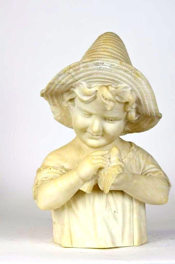 Marble/Alabaster Statue of A Child & Bird