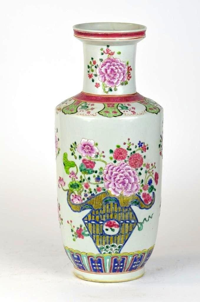 Chinese Famille Rose Porcelain Roleau Vase