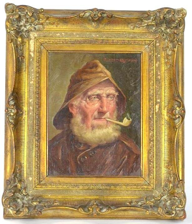 19th Century Oil On Board Painting of A Man Signed