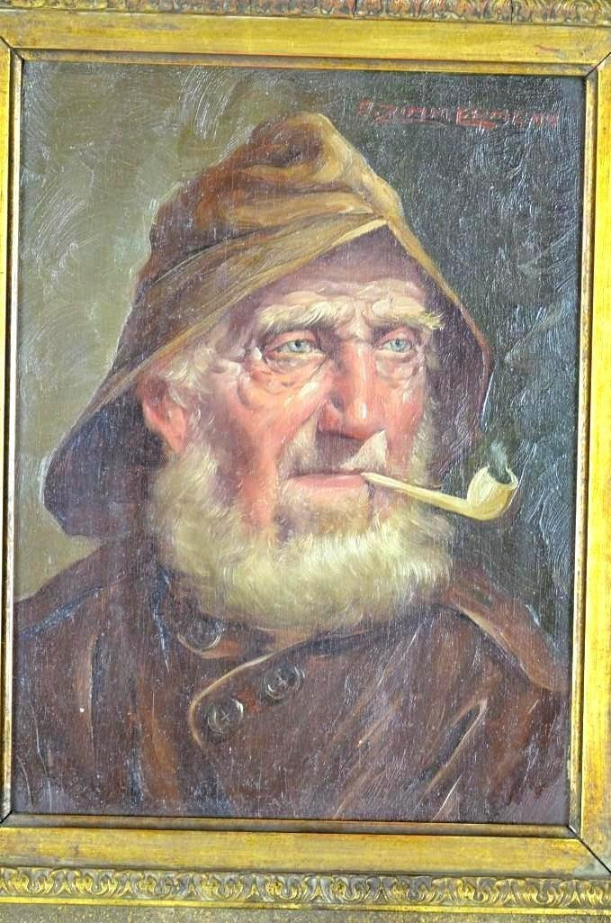 19th Century Oil On Board Painting of A Man Signed - 2