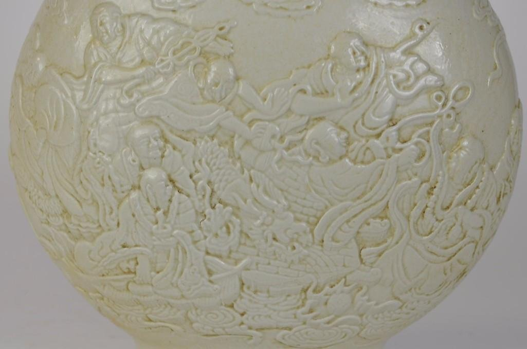 Chinese White Glaze Porcelain Moonflask - 4