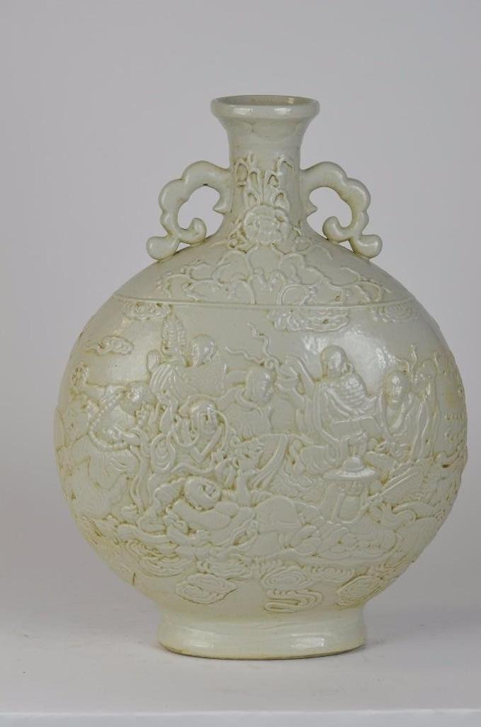Chinese White Glaze Porcelain Moonflask - 7