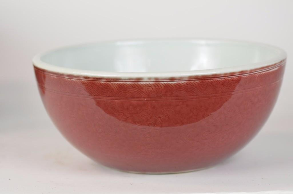 Chinese Red Glaze Dragon Bowl - 3