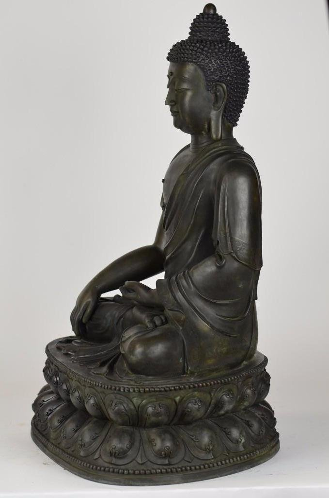 Chinese Bronze Seated Buddha - 7