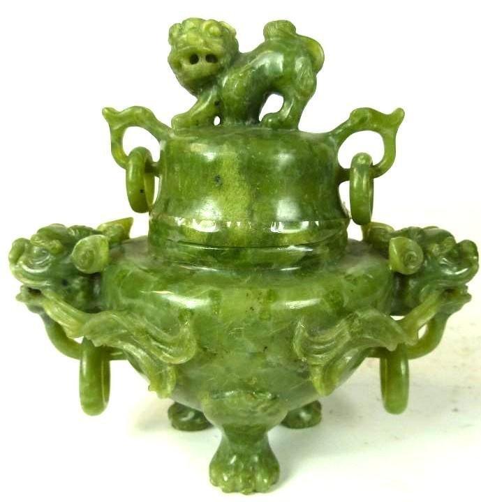 Carved Spinach Jade Lidded Tripod Censer
