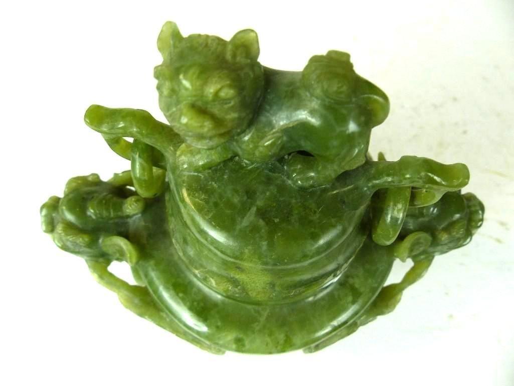 Carved Spinach Jade Lidded Tripod Censer - 2