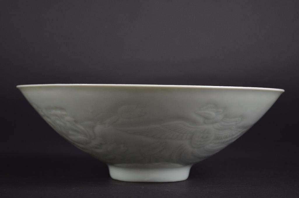 Chinese White Glaze Bowl with Incised Decoration - 3