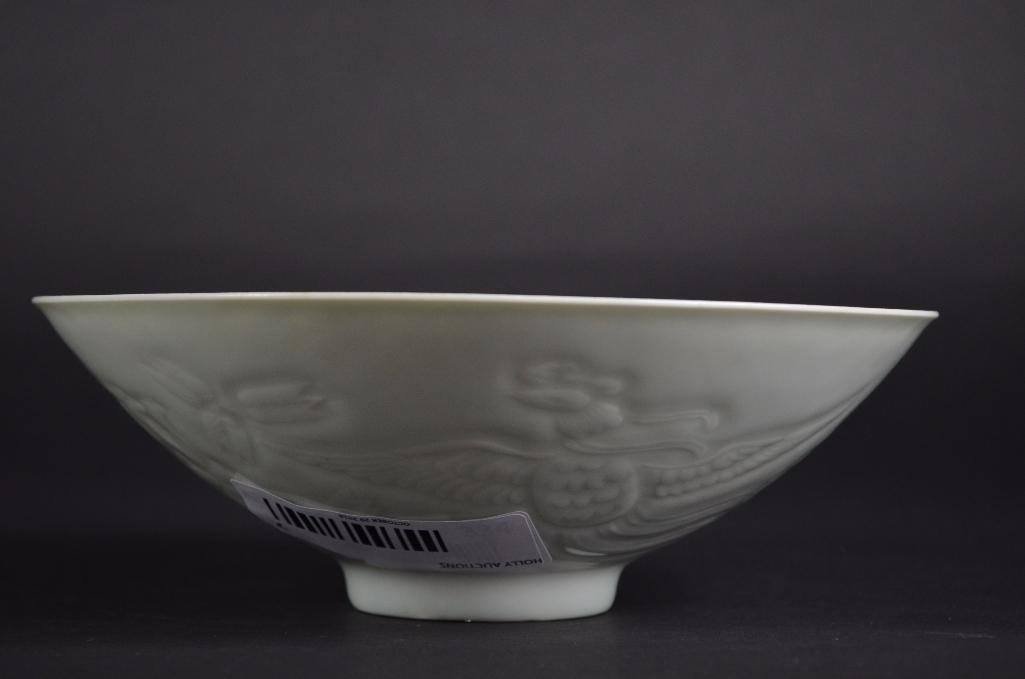 Chinese White Glaze Bowl with Incised Decoration - 4