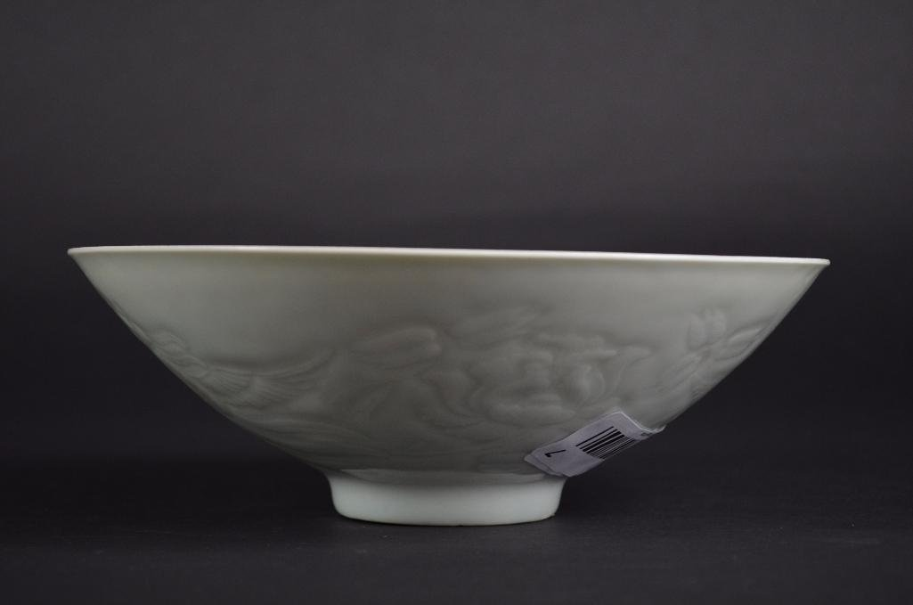 Chinese White Glaze Bowl with Incised Decoration - 8
