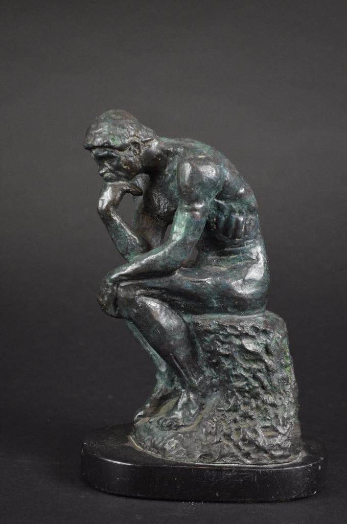 "Bronze Statue after Auguste Rodin ""The Thinker"""