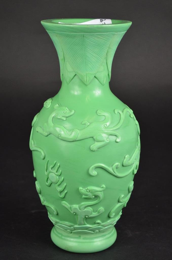 Chinese Carved Green Peking Glass Vase