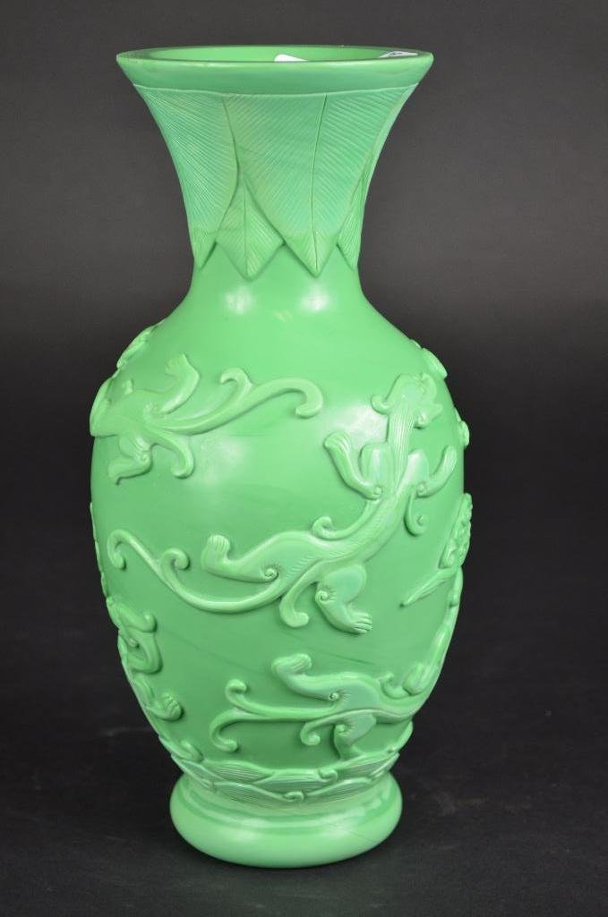 Chinese Carved Green Peking Glass Vase - 2