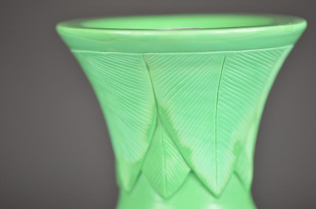 Chinese Carved Green Peking Glass Vase - 7
