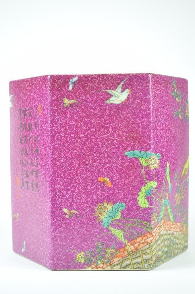 Chinese Pink Ground Hexagonal Shaped Planter - 3