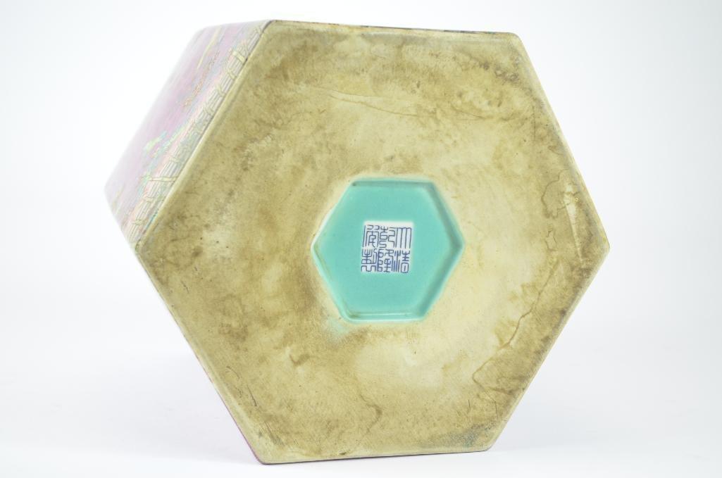 Chinese Pink Ground Hexagonal Shaped Planter - 6