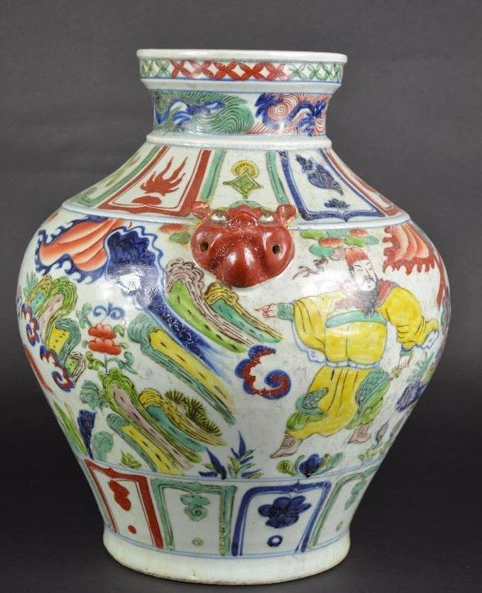Chinese Wucai Glaze Vase with Foo Lion Handles