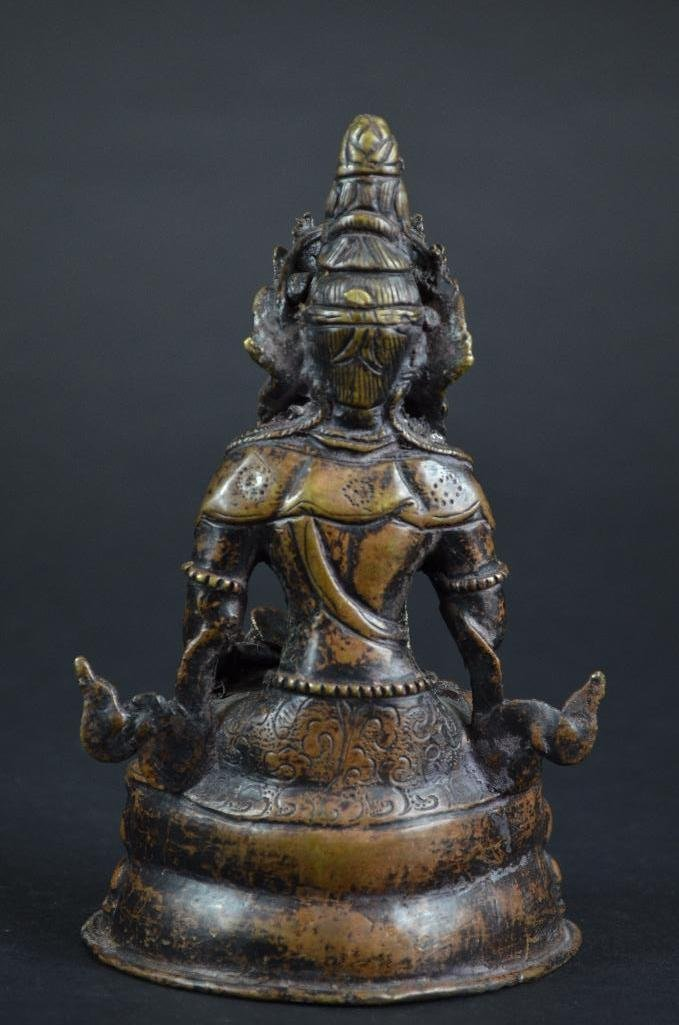 Chinese Bronze Seated Guan Yin - 3