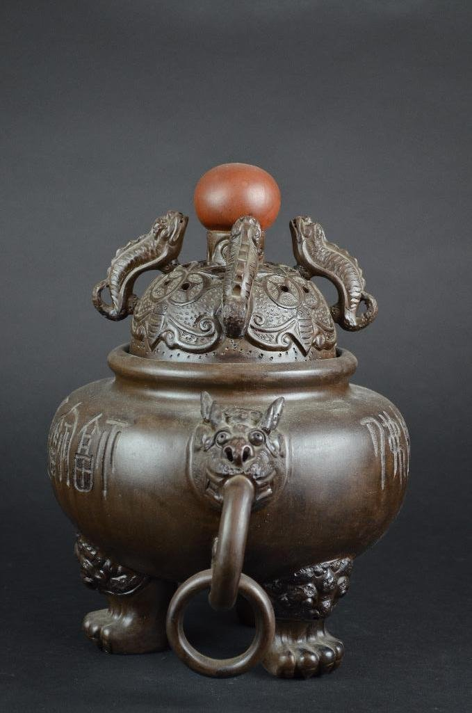 Chinese Bronze Lidded Tripod Censer - 2