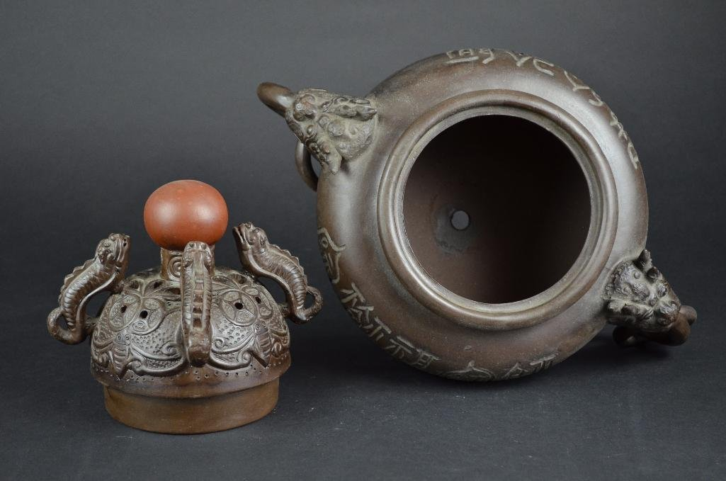 Chinese Bronze Lidded Tripod Censer - 5