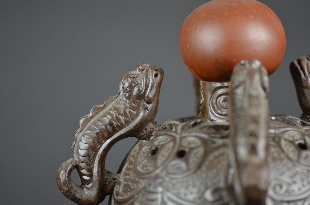 Chinese Bronze Lidded Tripod Censer - 7