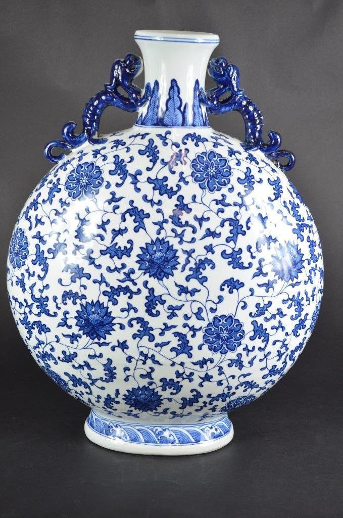 Large Chinese Blue & White Moonflask - 3