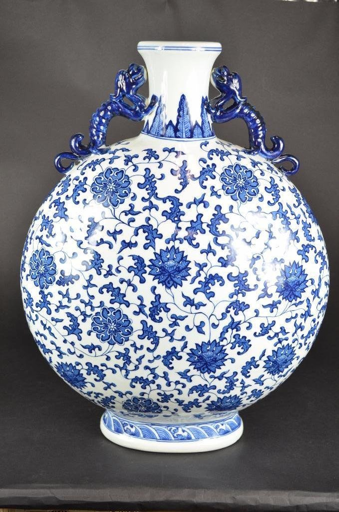 Large Chinese Blue & White Moonflask - 5