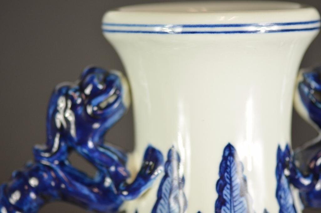 Large Chinese Blue & White Moonflask - 9