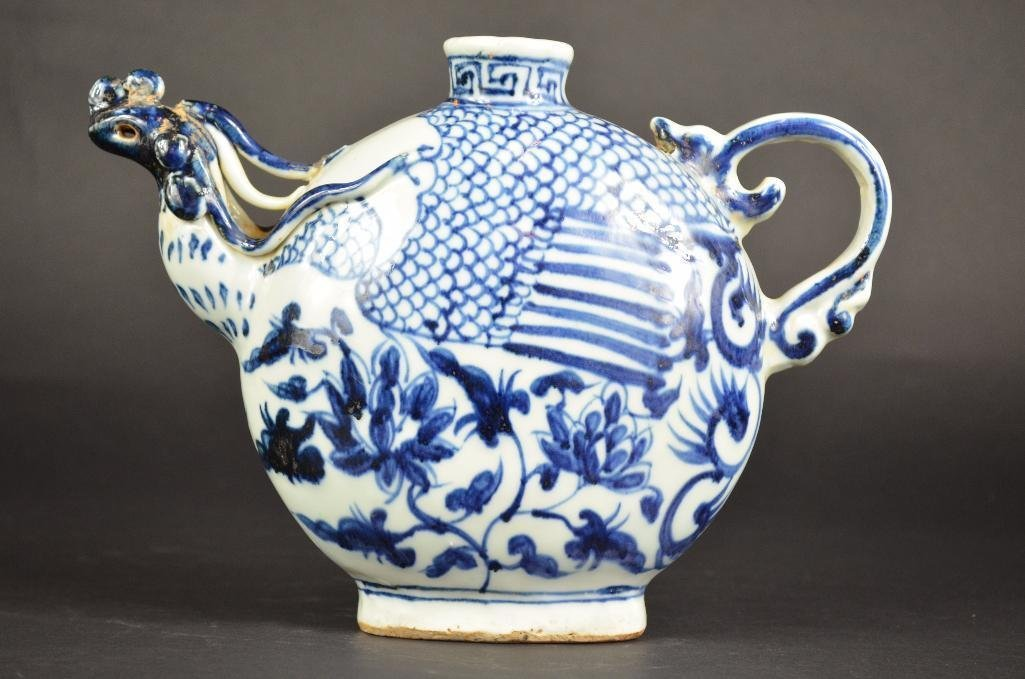 Chinese Blue & White Dragon Shape Teapot