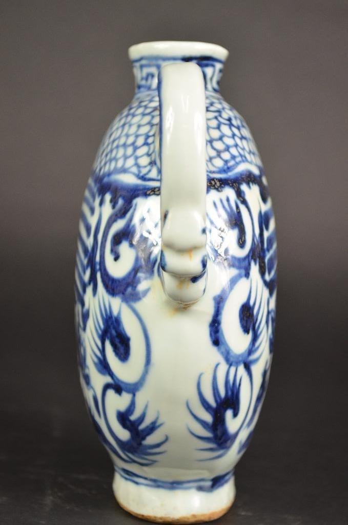 Chinese Blue & White Dragon Shape Teapot - 2