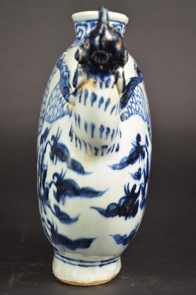 Chinese Blue & White Dragon Shape Teapot - 4