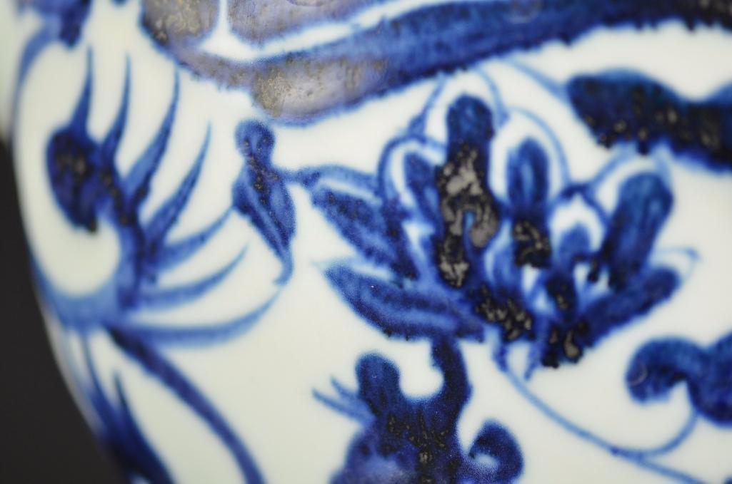 Chinese Blue & White Dragon Shape Teapot - 8