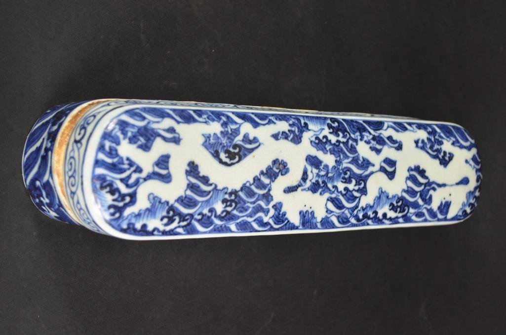 Chinese Blue & White Lidded Pen Box - 10