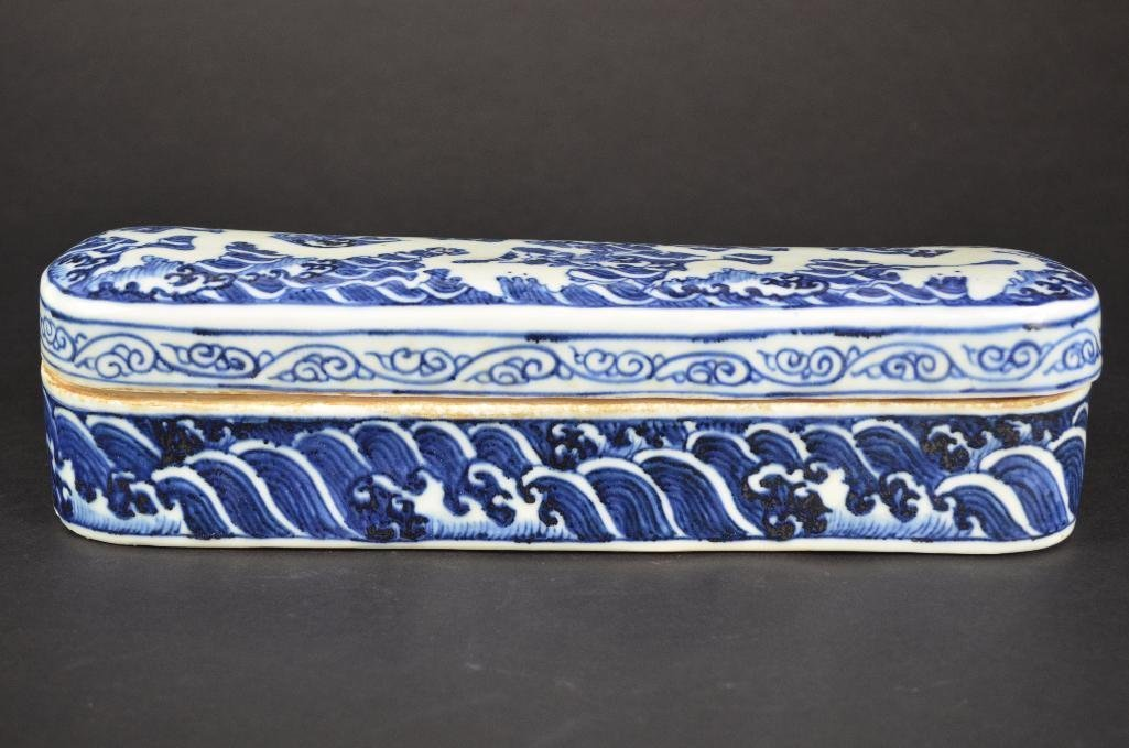 Chinese Blue & White Lidded Pen Box