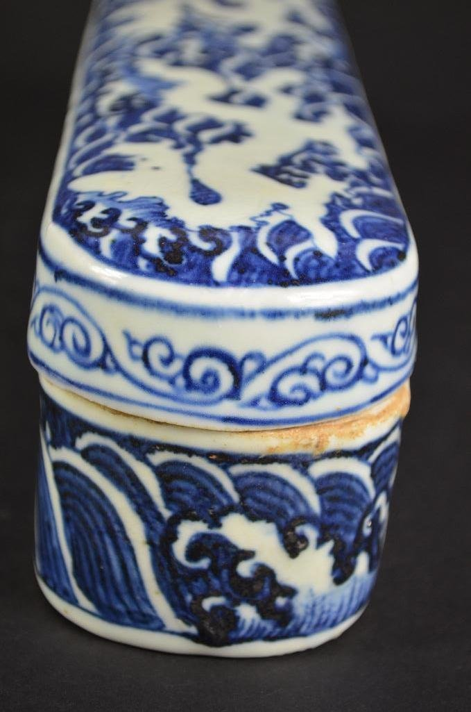 Chinese Blue & White Lidded Pen Box - 3