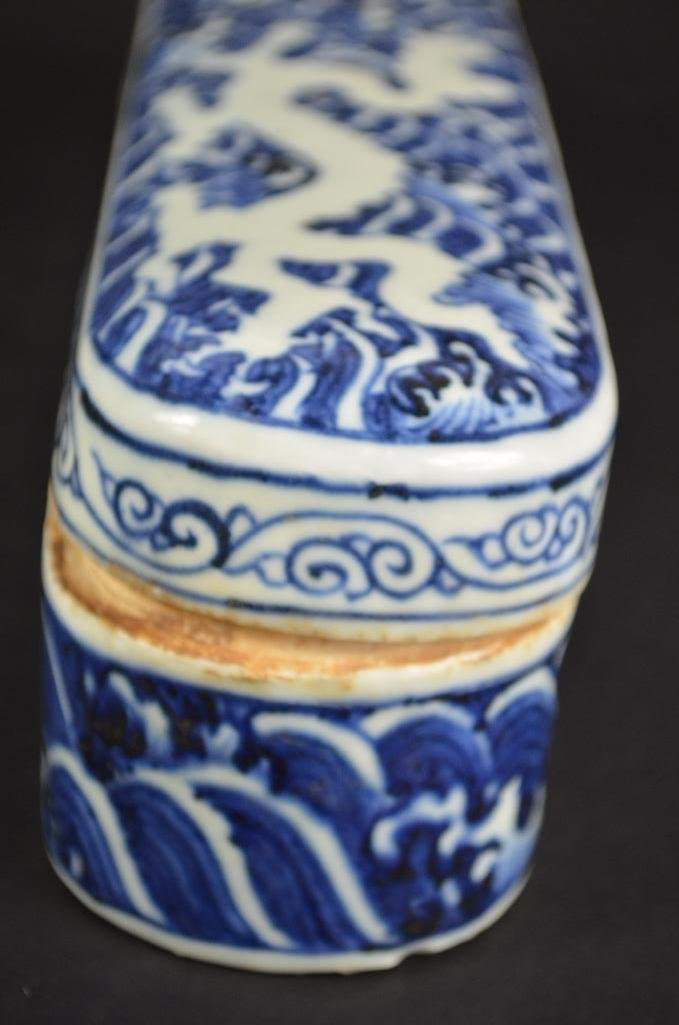Chinese Blue & White Lidded Pen Box - 4