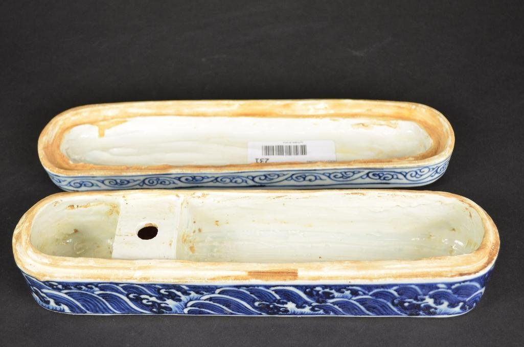 Chinese Blue & White Lidded Pen Box - 5
