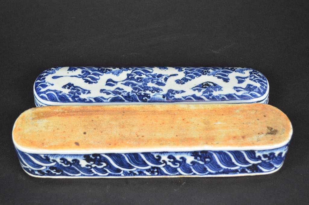 Chinese Blue & White Lidded Pen Box - 6