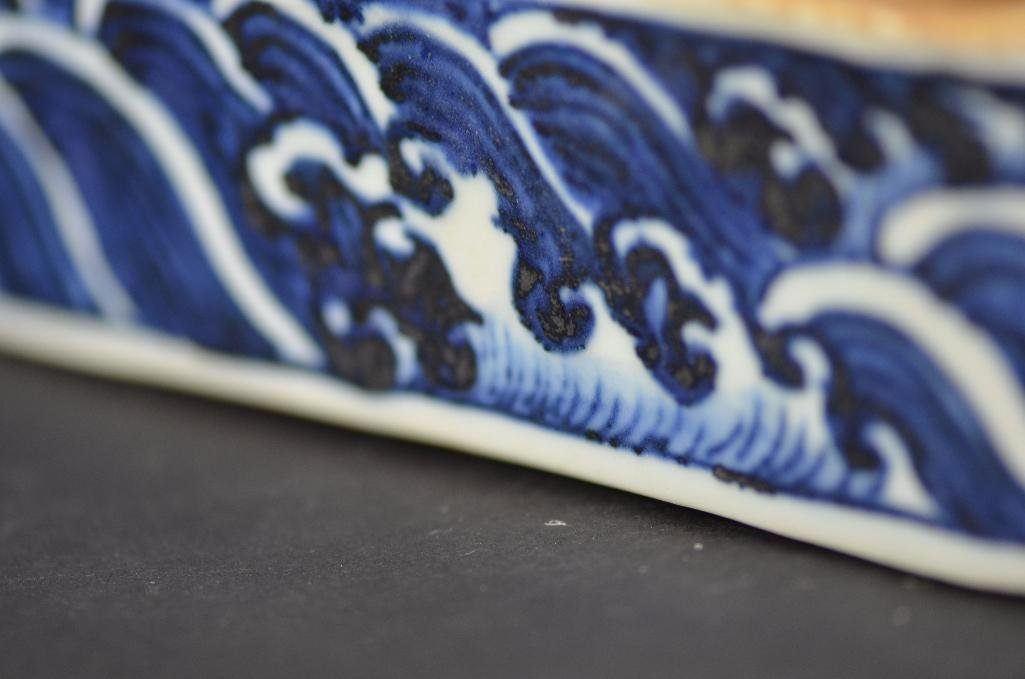 Chinese Blue & White Lidded Pen Box - 9