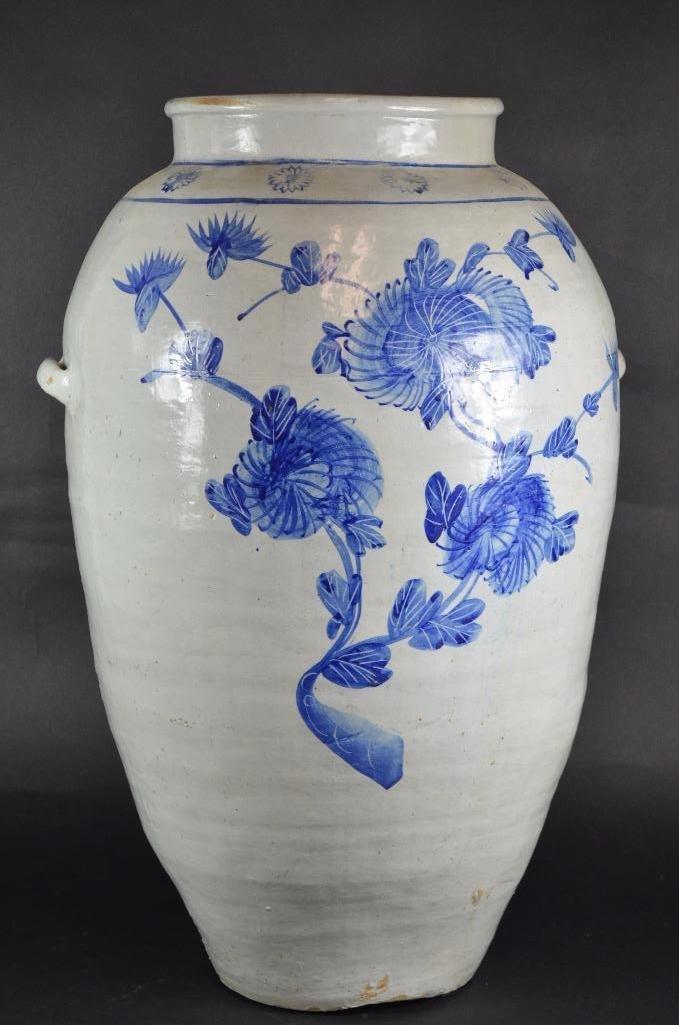 Large Korean Underglaze Blue Vase - 4
