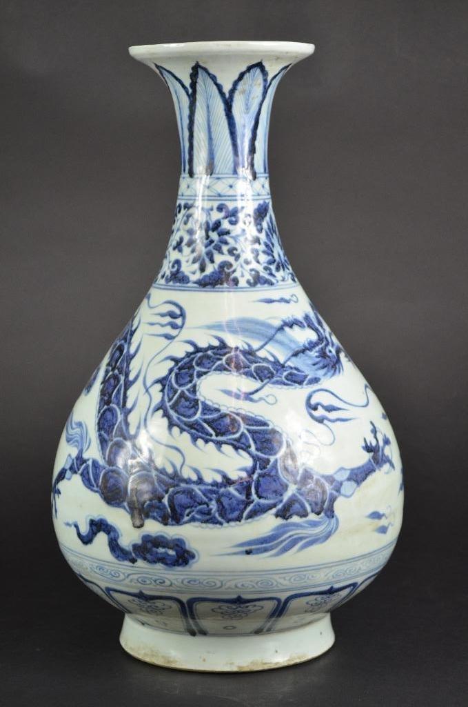 Chinese Blue & White Dragon Vase - 3