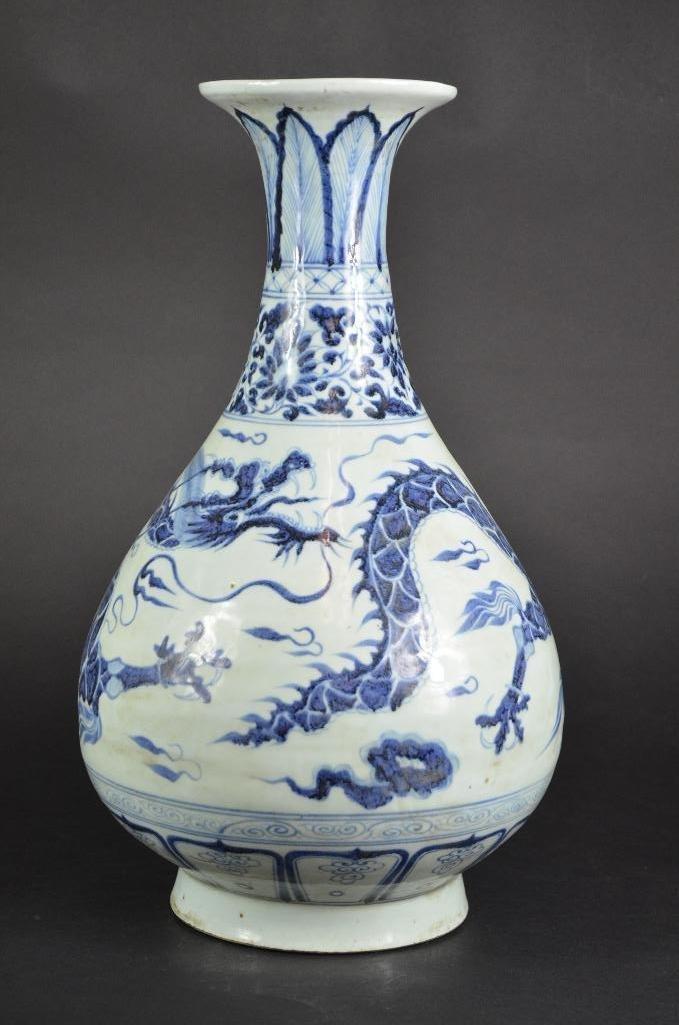 Chinese Blue & White Dragon Vase - 4