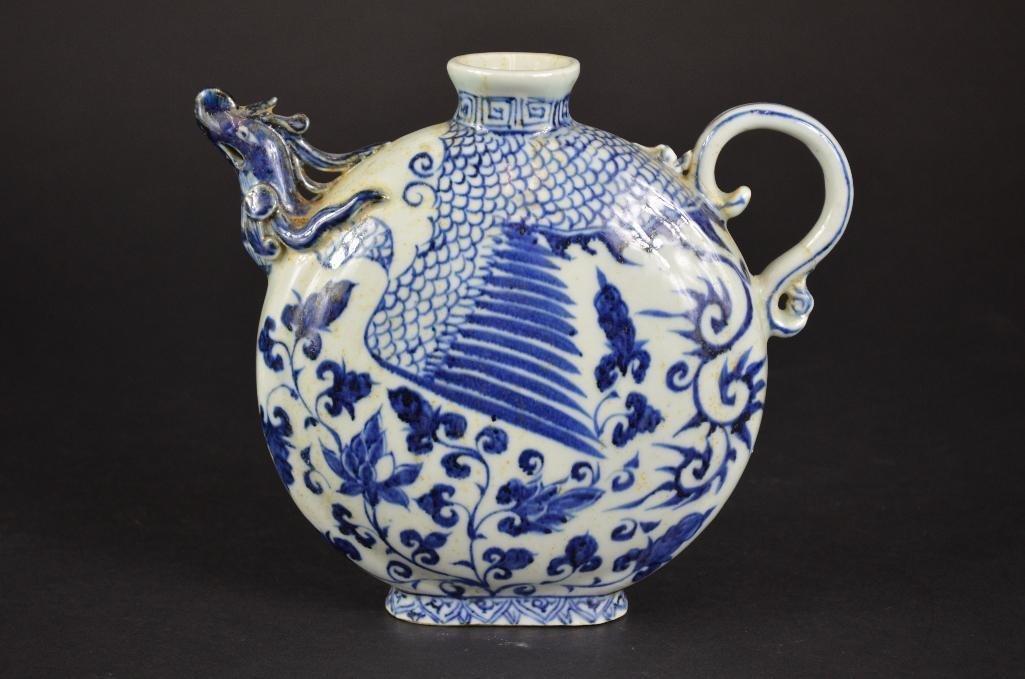 Chinese Blue & White Tea Pot - 3
