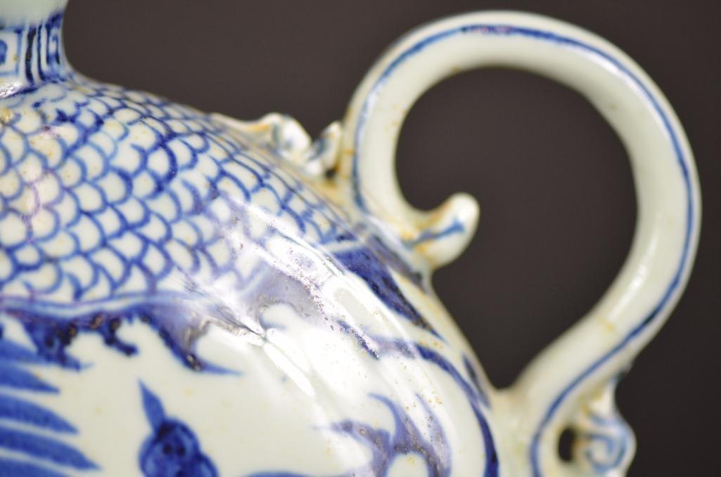 Chinese Blue & White Tea Pot - 8